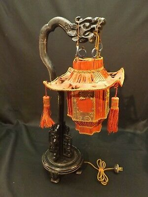 Chinese Dragon Table Lamp Wood Antique Carved Pagoda Shade 1920s Rare