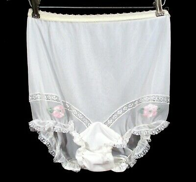 Vintage 1950's PANTIES Henson Lace Lacy 50's Embroidered Mushroom Gusset White 5