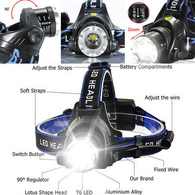 Super-Bright 90000LM T6 LED Headlamp Headlight Flashlight Head Torch 18650 Camp