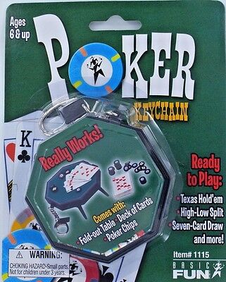 POKER Keychain TEXAS HOLD EM Keyring Cards Miniature Table Chips Casino Game NEW