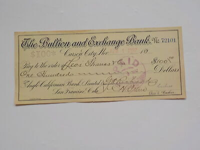 Antique Check 1897 Levi Strauss & Co. Carson City Nevada Money 501 Blue Jeans