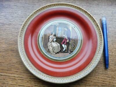Vintage prattware pottery plate featuring courting couple with wording undamaged