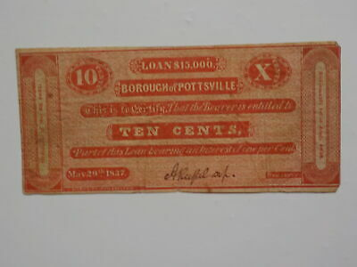 Scrip 1837 10 Cents Borough Of Pottsville Paper Money Currency Old VTG Antique 1