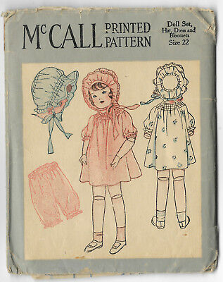 """McCall VTG 1920s Sewing Pattern Doll 22"""" Dress Hat Bloomers Antique Vintage FF"""