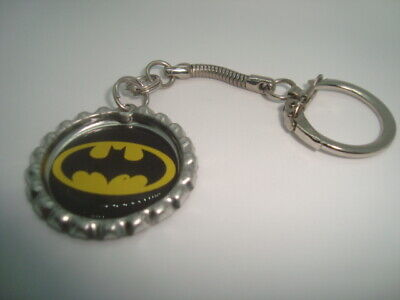 BATMAN design Bottle Cap key chain Snake style Silver Tone Polyurethane