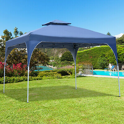 Outsunny 3x3(m) Pop-Up Party Tent Gazebo Canopy Shelter w/ 2-tier Roof Blue