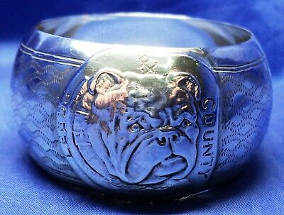 Rare Solid Silver Leeds County Bulldog Club Napkin Ring By Harrison Fisher 1912