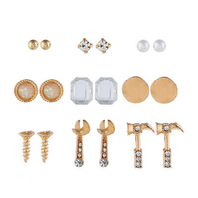 9 Pairs Screw Wrench Hammer Rhinestone Boho Stud Earrings Set Fashion Jewelry