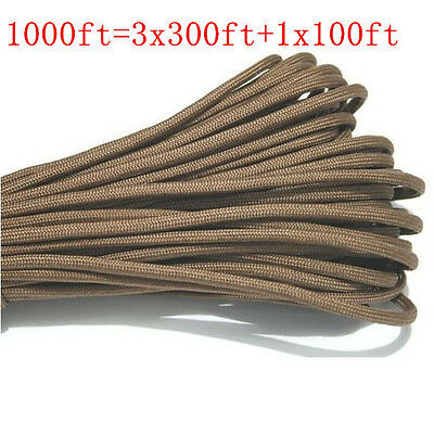 1000FT/300m MultiIII Stand 7 Cores 550 Paracord Parachute Cord Lanyard Coffee