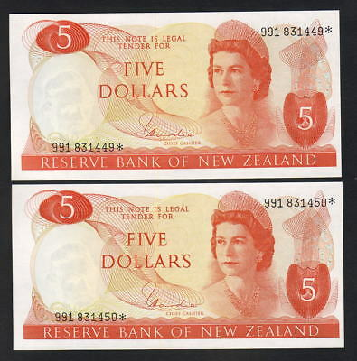 New Zealand  P-165d. (1977-81) $ 5 Star Note.. Hardie Type-1.. UNC - CONSEC Pair