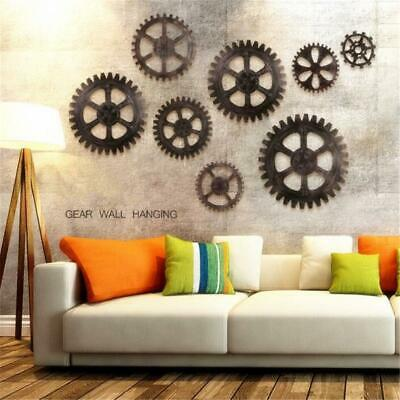 Industrial Wood Wooden Gear Vintage Retro Art Cafe Wall Hanging Decoration LC