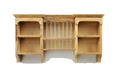 Dolls House Light Oak Wall Cupboard with Plate Rack Kitchen Furniture 1:12 Scale