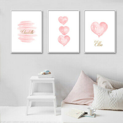 Nordic Pink Heart Letters Wall Painting Picture Kids Nursery Room Decor Faddish