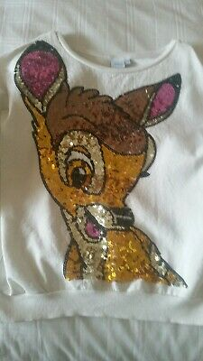 Disney Top sequin Bambi,3/4 Sleeve Cotton sweatshirt Size 9-10 tiny stain