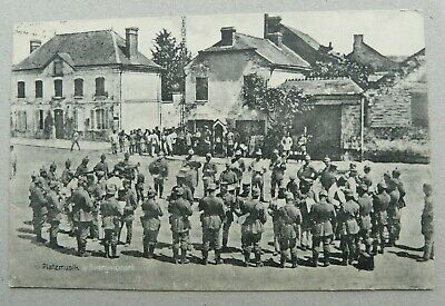 German Feldpost/Postcard Sent 1918 MILITARY BAND OCCUPIED TOWN-Excellent Stamp