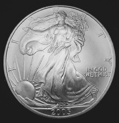 2005 Silver American Eagle BU 1 oz Coin US $1 Dollar Brilliant Uncirculated *05