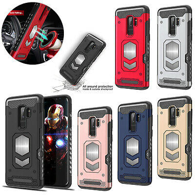 For Samsung S9 Plus S8 Magnetic Silicone Card Slot Heavy Duty Hybrid Case Cover