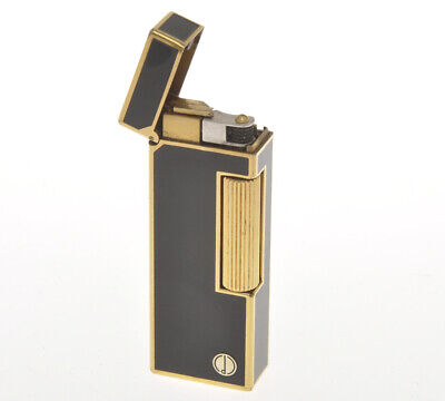 "Dunhill gold Rollagas lighter rare ""Black Lacquer"" just overhauled"