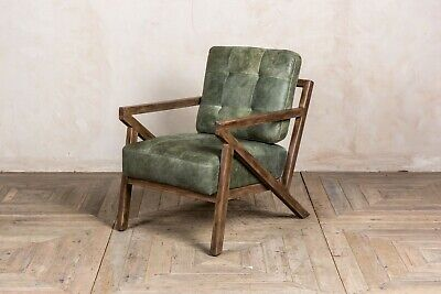 Pair Of Matcha Green Leather Mid Century Modern Style Z-Frame Armchair