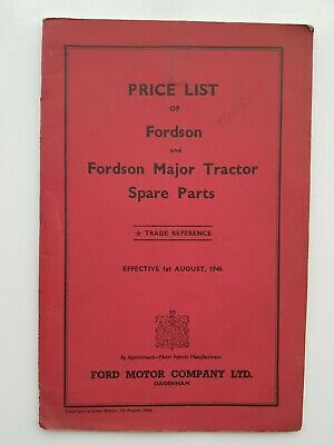 Fordson Major Tractor Parts Price List 1946