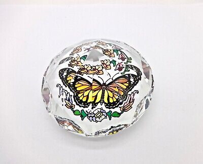 Vintage Heavy Facet Cut Crystal Floral Butterfly Paperweight