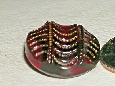 """5/8"""" Antique Ruby Red Glass Button Textured Wavy Incised Gold Luster BEAUTIFUL"""