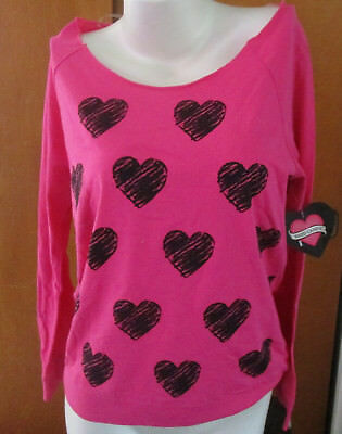 NWT Womens Pink Long Sleeve Hearts Torn Slashed Open Back Hard Candy Shirt Med M