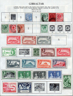 Gibraltar 1889-1954, collection of 42 mint & used on 2 illustrated album pages.