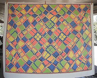 Vintage  Tablecloth Colorful Unique Design Stained Glass? Well Loved  62 X 50