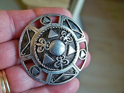Vintage Jewellery Scottish Celtic Agate Enamel Silver Shield Plaid Brooch Pin