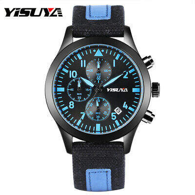 YISUYA Mens Stylish Quartz Wrist Watch Luminous Chronograph Date Canvas Band