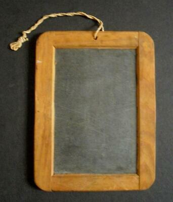 Antique Child's Slate School Writing Slate Wooden Frame Made In Portugal