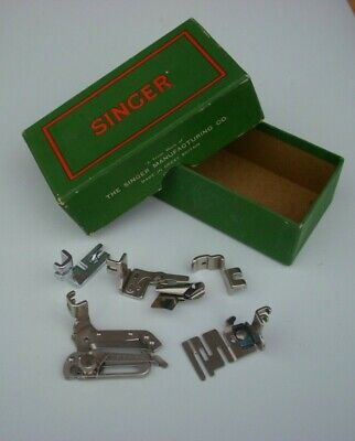 Vintage Old Singer Sewing Machine Box With 5 Simanco Attachments Spare Parts
