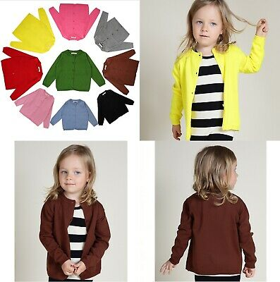 Kids Boys Girls Children Baby 100%Cotton Knitted Jumper Cardigan Coat Top School