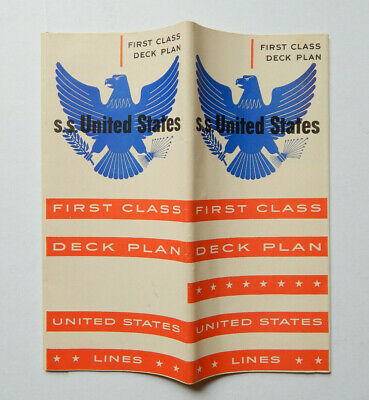 1954 SS United States First Class Deck Plan by United States Lines