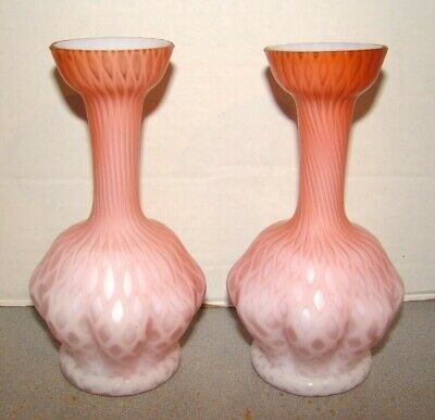 Antique Mt. Washington Glass Pink Satin Diamond Quilted Pair Of Vases