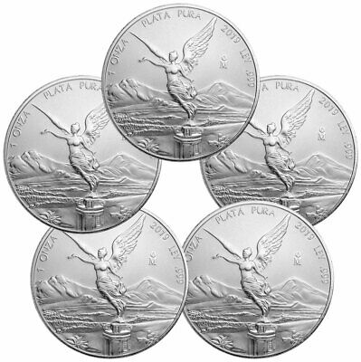 Lot of 5 2019 Mexico 1 oz Silver Libertad 1 Onza Coins GEM BU SKU57155