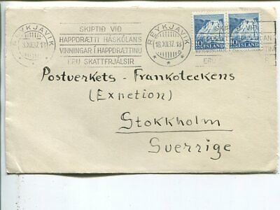 Iceland 2x10a on cover to Sweden 1937