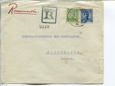 Iceland 40+10a on reg cover to Denmark 1922
