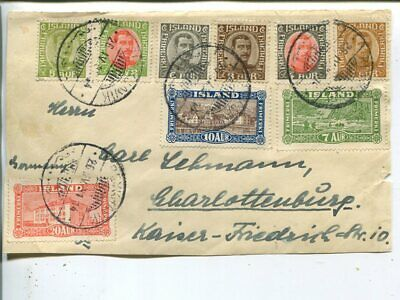Iceland 9 values on cover FRONT to Berlin 1931