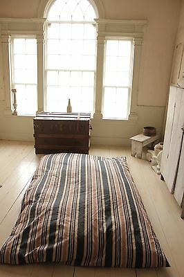 Antique Mattress w/ Ticking fabric cover French Feather stuffed bed 1900 textile