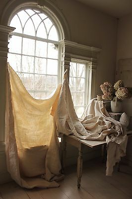 Antique French Linen Sheets 3 MATCHING heavy upholstery & sewing fabric WASHED