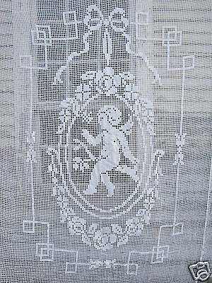 Vintage White Coverlet French Romantic Bed Cover Filet lace Cupid Angel Cotton