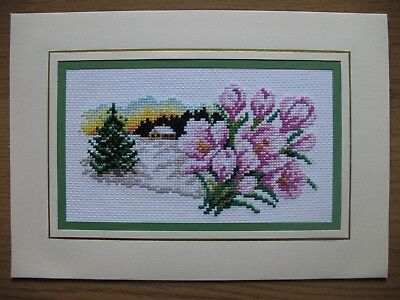 """Ex LARGE COMPLETED CROSS STITCH CARD (10,5""""x 7,5"""")"""