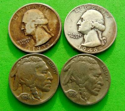 4  EXCELLENT  COINS   1934  TO  1946  From  USA ...LUCIDO_8  COINS