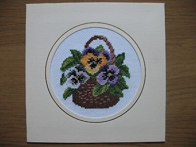 """ExLARGE COMPLETED CROSS STITCH CARD BASKET OF PANSIES (7,5""""x 7,5"""")"""