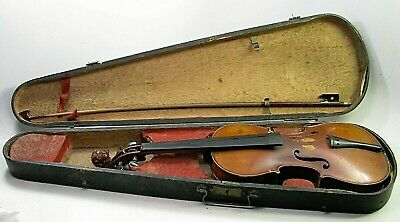 Antique 4/4 Full Size Violin W/carved Lion Head Neck & Case
