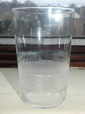 Fabulous Large Antique Engraved  & Cross Cut Banding Clear Glass Tumbler