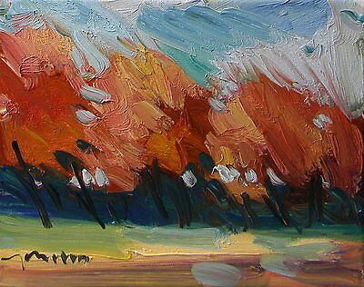 JOSE TRUJILLO ORIGINAL OIL PAINTING Modern IMPRESSIONIST Orange Red Landscape