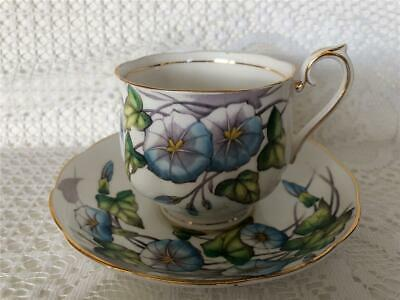 Royal Albert Flower of The Month Series MORNING GLORY No. 9 Tea Cup & Saucer Set